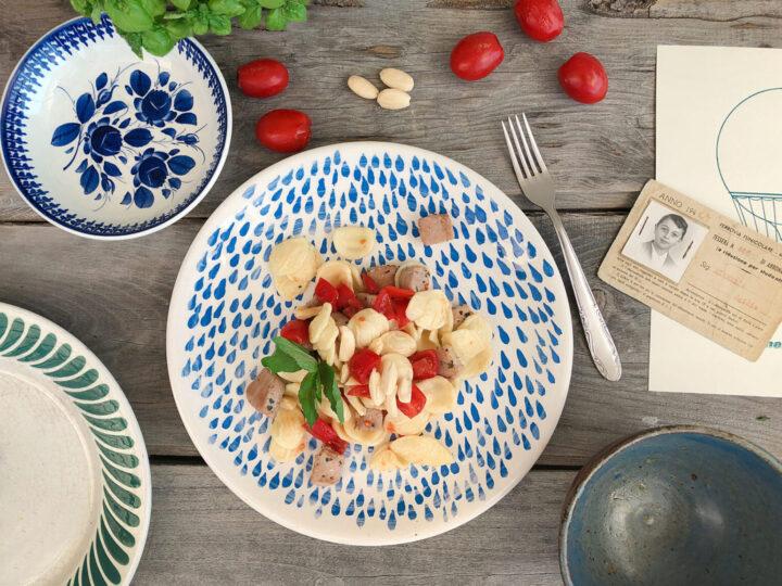Orecchiette Michelis con tonno fresco, mandorle, pomodorini e menta